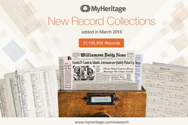 MyHeritage Adds 27.1 Million Records