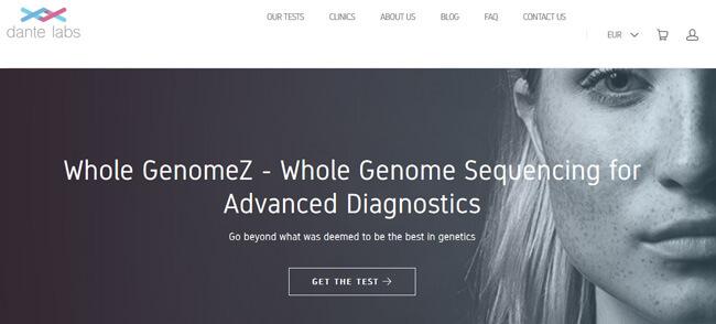 Dante Labs homepage printscreen