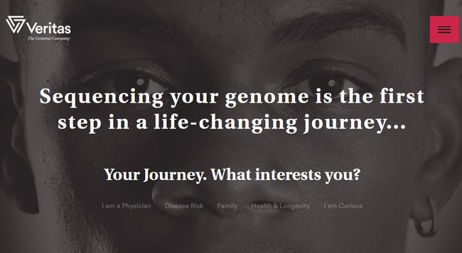 Veritas Genetics homepage printscreen
