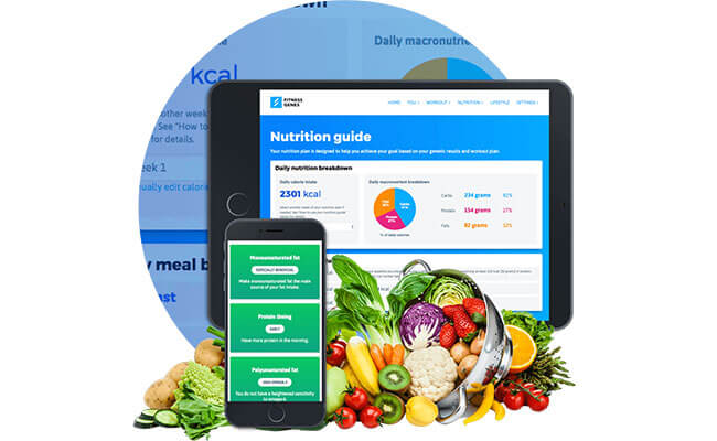 FitnessGenes nutrition guide on smart device
