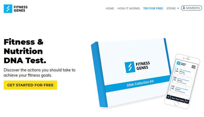 FitnessGenes printscreen homepage