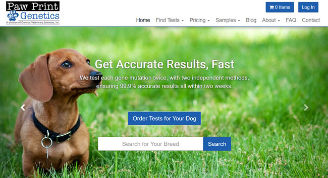Paw Print Genetics homepage printscreen