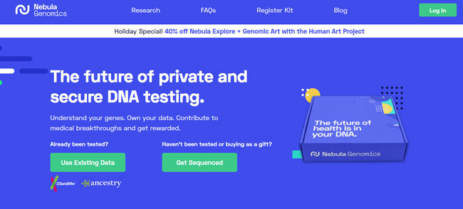 Nebula Genomics printscreen homepage