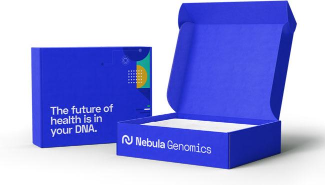 Nebula-Genomics test pack on white background