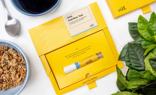 Vitl dna test in box on table